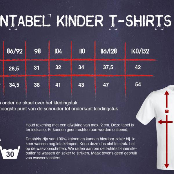 Matentabel kindershirts