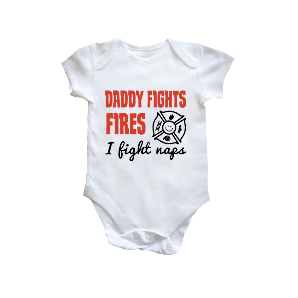 Brandweer rompertje 'Daddy fights fires, I fight naps'