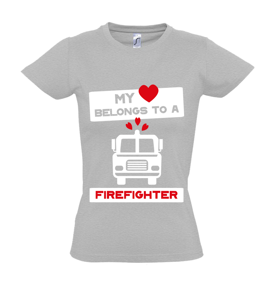 Brandweer t-shirt 'My heart belongs to a firefighter'